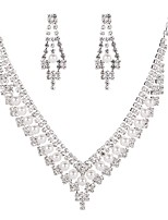 cheap -Women's Cubic Zirconia Rhinestone Pearl Imitation Diamond Jewelry Set 1 Necklace Earrings - Classic Vintage Elegant Geometric Drop Silver