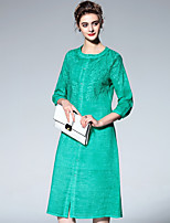 cheap -PROVERB Women's Vintage Basic Shirt Dress - Solid Colored
