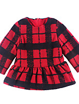 cheap -Girl's Daily Holiday Plaid Dress, Cotton Polyester Spring Long Sleeves Simple Active Red