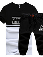 cheap -Men's Plus Size Sports Casual Street chic Short Sleeves Slim Activewear Set - Solid Colored Letter Round Neck