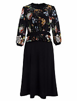 cheap -Women's Sophisticated Loose Dress - Floral, Print Crew Neck