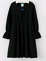 abordables -Vestido Chica de Un Color Verano Simple Negro