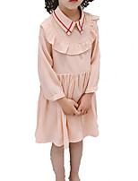 cheap -Girl's Daily Holiday Solid Dress, Cotton Polyester Spring Fall 3/4 Length Sleeves Simple Casual Blushing Pink