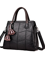 cheap -Women's Bags PU Tote Embossed Tassel for Casual Office & Career All Seasons Gold Black Red Gray Purple