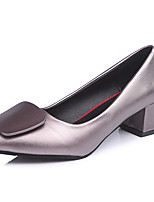 cheap -Women's Shoes PU Spring Fall Comfort Heels Chunky Heel for Outdoor Black Silver Red