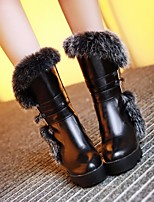 cheap -Women's Shoes PU Fall Winter Snow Boots Comfort Boots Flat Heel Mid-Calf Boots for Casual White Black Red