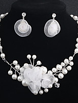 cheap -Women's Jewelry Set Crystal Rhinestone Pearl Crystal Alloy Flower Floral Fashion European Wedding Daily 1 Necklace Earrings Costume