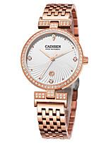 abordables -CADISEN Mujer Cuarzo Reloj de Moda Japonés Calendario Resistente al Agua Reloj Casual Acero Inoxidable Banda Elegant Moda Blanco Oro Rosa