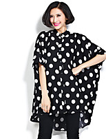 cheap -Women's Vintage Plus Size Batwing Sleeve Cotton Oversized Blouse - Polka Dot, Tassel Print