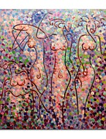 Недорогие -Hang-роспись маслом Ручная роспись Абстракция Телесный Квадратный, Современный Modern холст Украшение дома 1 панель