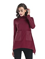 cheap -Women's Slim T-shirt - Solid Letter Turtleneck