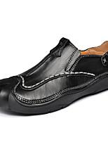 abordables -Hombre Zapatos PU microfibra sintético Primavera Otoño Confort Zapatos de taco bajo y Slip-On para Casual Negro Marrón Claro