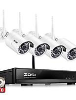abordables -zosi® 4ch 1080p hdmi wifi nvr sistema de cámara de seguridad de 2.0mp ir sistema de vigilancia inalámbrico de cámara de cctv impermeable al aire libre