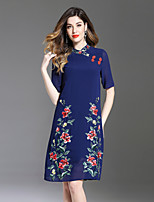 cheap -8CFAMILY Women's Vintage A Line Dress - Floral Embroidered Stand
