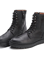 cheap -Men's Shoes Cowhide Nappa Leather Fall Winter Combat Boots Comfort Boots Booties/Ankle Boots for Casual Black