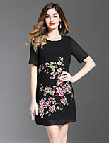 cheap -8CFAMILY Women's Cute A Line Dress - Floral Embroidered