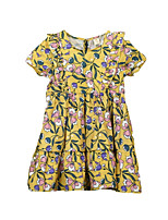 cheap -Girl's Daily Going out Floral Dress, Polyester Spring Summer Short Sleeves Simple Active Green Yellow