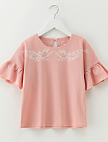 cheap -Girl's Daily Solid Dress, Cotton Summer Short Sleeves Simple Active Blushing Pink