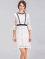 cheap -SHE IN SUN Women's Street chic Flare Sleeve A Line Dress - Color Block Lace Basic