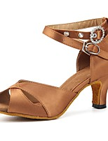 cheap -Women's Latin Satin Sandal Heel Party Professional Splicing Customized Heel Brown 3 - 3 3/4 Customizable