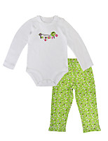 cheap -Baby Girls' Daily Holiday Floral Clothing Set, Cotton Spring Fall Casual Long Sleeves Light Green