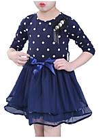 cheap -Girl's Daily Going out Solid Polka Dot Dress, Cotton Polyester Summer Long Sleeves Simple Active White Navy Blue