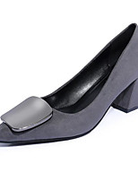 cheap -Women's Shoes Synthetic Microfiber PU Spring Fall Comfort Heels Chunky Heel for Black Gray