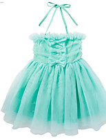 cheap -Girl's Daily Solid Colored Dress, Polyester Spring Sleeveless Simple Green