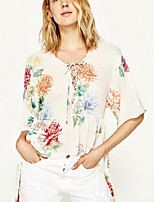 cheap -Women's Holiday Vintage Blouse - Floral, Print V Neck