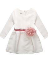 preiswerte -Mädchen Kleid Alltag Solide Baumwolle Leinen Bambusfaser Acryl Frühling Langarm Einfach Weiß