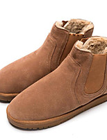 cheap -Men's Shoes Nubuck leather Winter Fall Snow Boots Comfort Boots for Casual Black Gray Camel