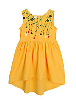 cheap -Girl's Daily Solid Dress, Cotton Summer Sleeveless Simple Active Yellow