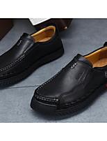 Недорогие -Муж. обувь Кожа Осень Зима Удобная обувь Мокасины и Свитер для Повседневные Черный Коричневый Хаки