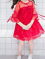 Недорогие -Девичий Платье Повседневные Хлопок Полиэстер Однотонный Лето С короткими рукавами Простой Зеленый Красный