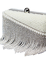 cheap -Women's Bags Polyester Evening Bag Crystal Detailing Pearl Detailing Tassel for Wedding Event/Party All Seasons Beige