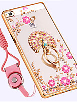 cheap -Case For Huawei P8 Shockproof Rhinestone Ring Holder Back Cover Flower Soft TPU for Huawei P8