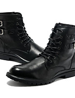 cheap -Men's Shoes Cowhide Nappa Leather Winter Fall Combat Boots Comfort Boots Mid-Calf Boots for Casual Outdoor Black