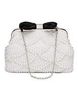 cheap -Women's Bags Polyester Evening Bag Pearl Detailing for Wedding Event/Party Spring All Seasons White Black Beige
