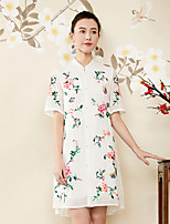cheap -Women's Chinoiserie Loose Dress - Floral, Embroidered Stand