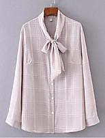 preiswerte -Damen Schachbrett Hemd, V-Ausschnitt