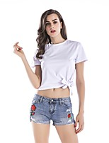 cheap -Women's Going out Simple Cotton T-shirt - Solid Colored, Bow