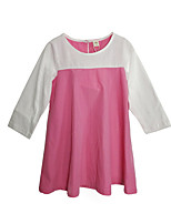 cheap -Girl's Daily Holiday Solid Patchwork Dress Spring Summer Long Sleeves Simple Active Blushing Pink