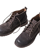 cheap -Men's Shoes Cowhide Nappa Leather Fall Winter Combat Boots Comfort Boots Booties/Ankle Boots for Casual Gray Coffee