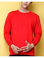 abordables -Homme Ample Col Arrondi Sweatshirt Couleur Pleine