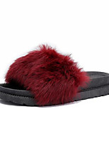 cheap -Women's Shoes Fleece Summer Comfort Slippers & Flip-Flops Flat Heel Round Toe Feather for Casual Black Gray Burgundy