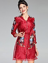 cheap -Women's Sophisticated Slim A Line Dress - Floral, Embroidered High Waist