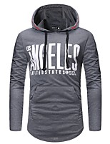 cheap -Men's Plus Size Sports Simple Casual Long Sleeves Slim Hoodie - Solid Colored Letter Hooded