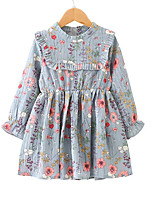 cheap -Girl's Daily Going out Floral Dress, Polyester Spring Summer Long Sleeves Boho Blue