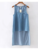 cheap -Women's Basic Cotton Tank Top - Solid Colored, Denim