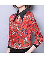 cheap -Women's Basic Blouse - Floral, Patchwork Shirt Collar
